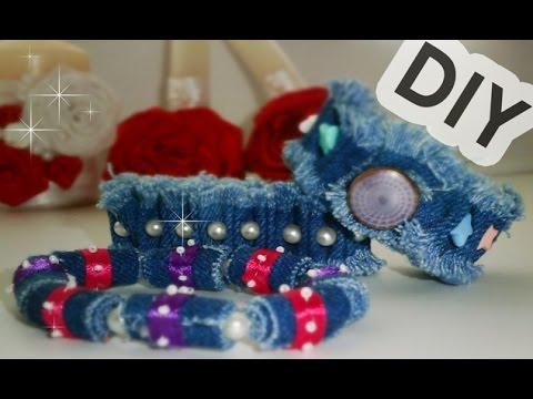 Cмотреть видео онлайн DIY- Браслет своими руками. 3 джинсовых браслета за 10 минут (DIY Bracelet Tutorial)