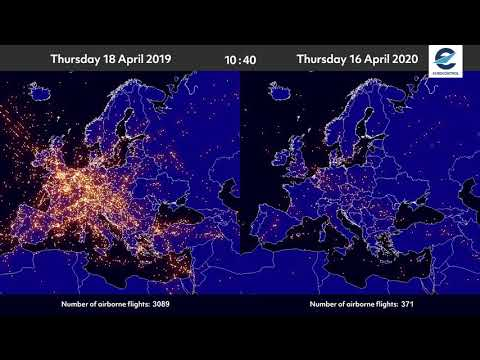 Air traffic situation over Europe - 18 April 2019 vs16 April 2020