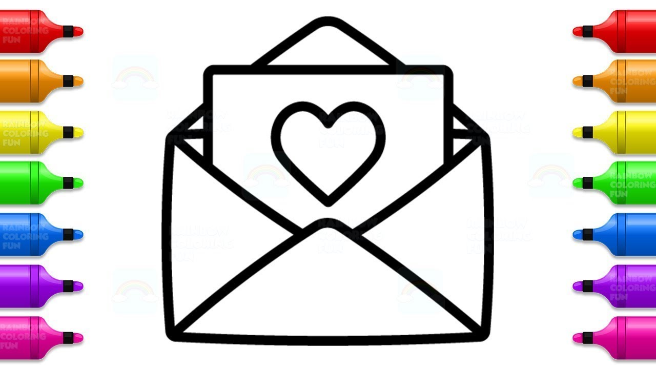 Envelope with Heart Coloring Book | Pencil and Letter Drawing ...