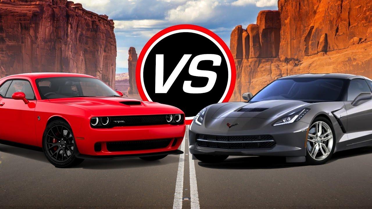 2016 Dodge Challenger Srt Hellcat Vs Chevy Corvette Stingray Spec Comparison