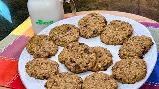 HEALTHY VEGAN PEANUT BUTTER OATMEAL CHOCOLATE COOKIES