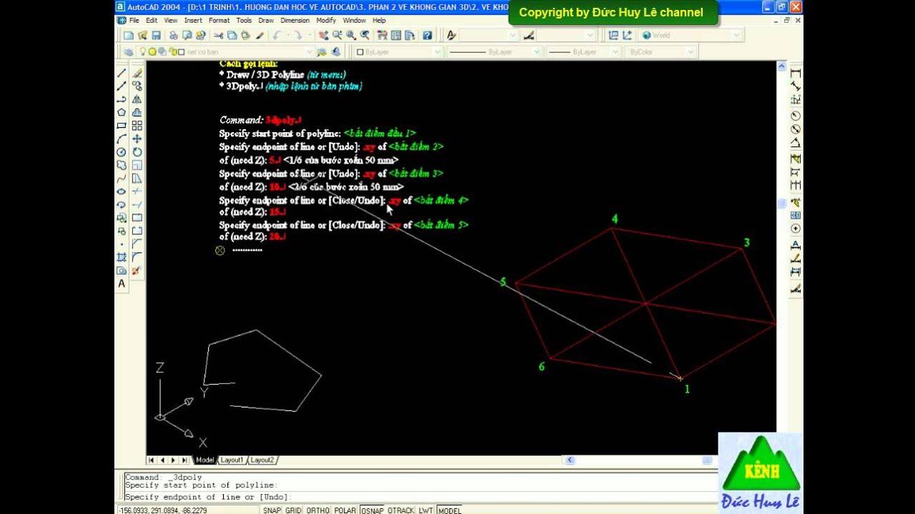 Vẽ đa tuyến trong CAD 3D – Lệnh 3D Polyline