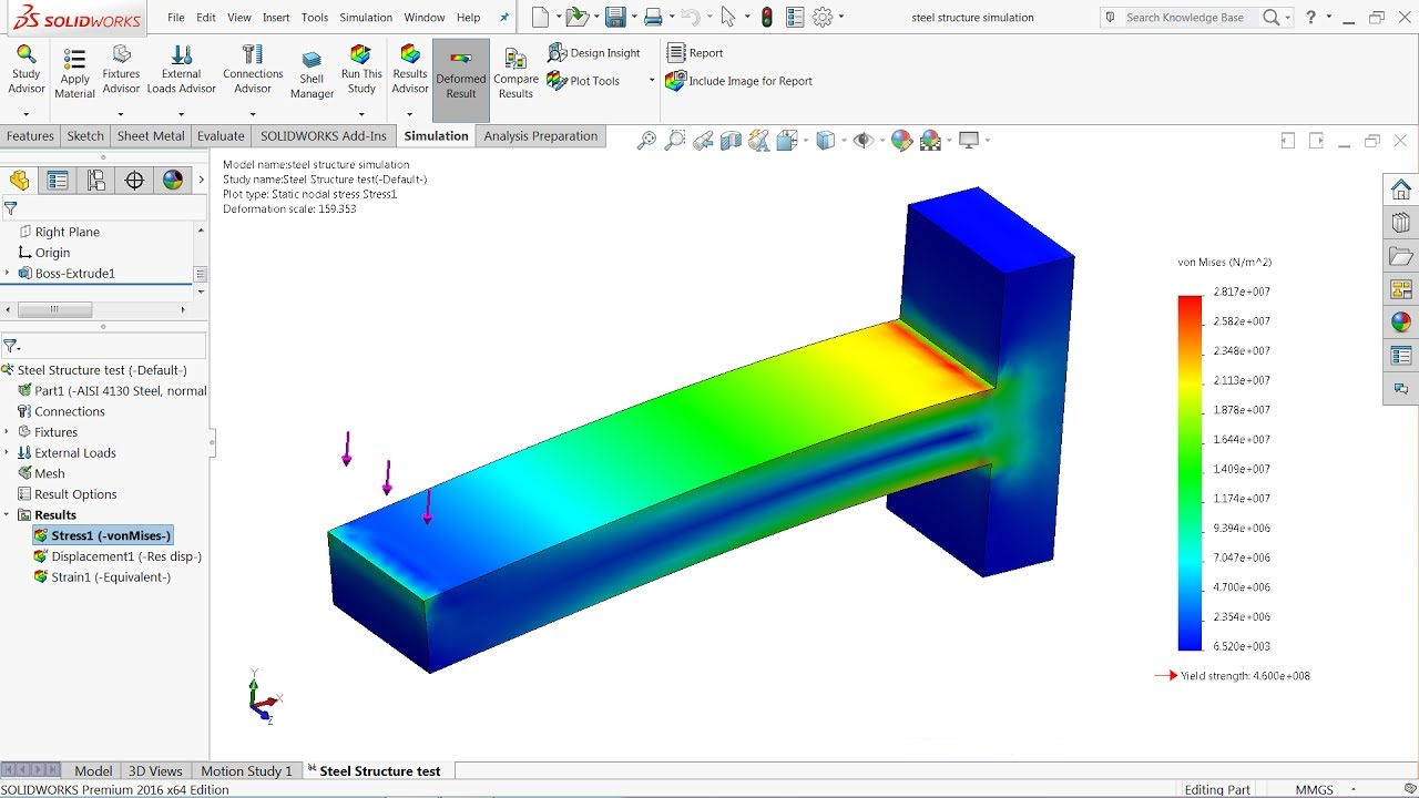 Solidworks Simulation Tutorial Steel Structure