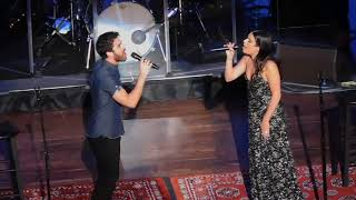 lea michele and darren criss chatting singing suddenly seymour in columbus