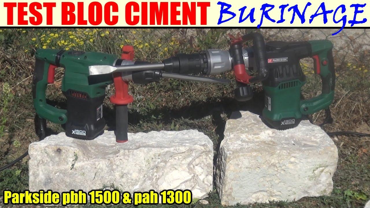 Parkside Perforateur Burineur Pbh 1500 Et Burineur Parkside Pah 1300 Test Block Ciment
