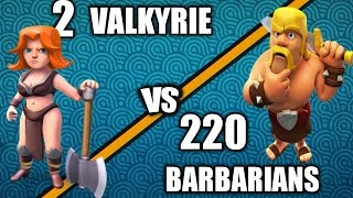 220 BARBARIAN Vs 1 VALKYRIE!!! Glitch?!? (Troll Raids) - Clash Of Clans