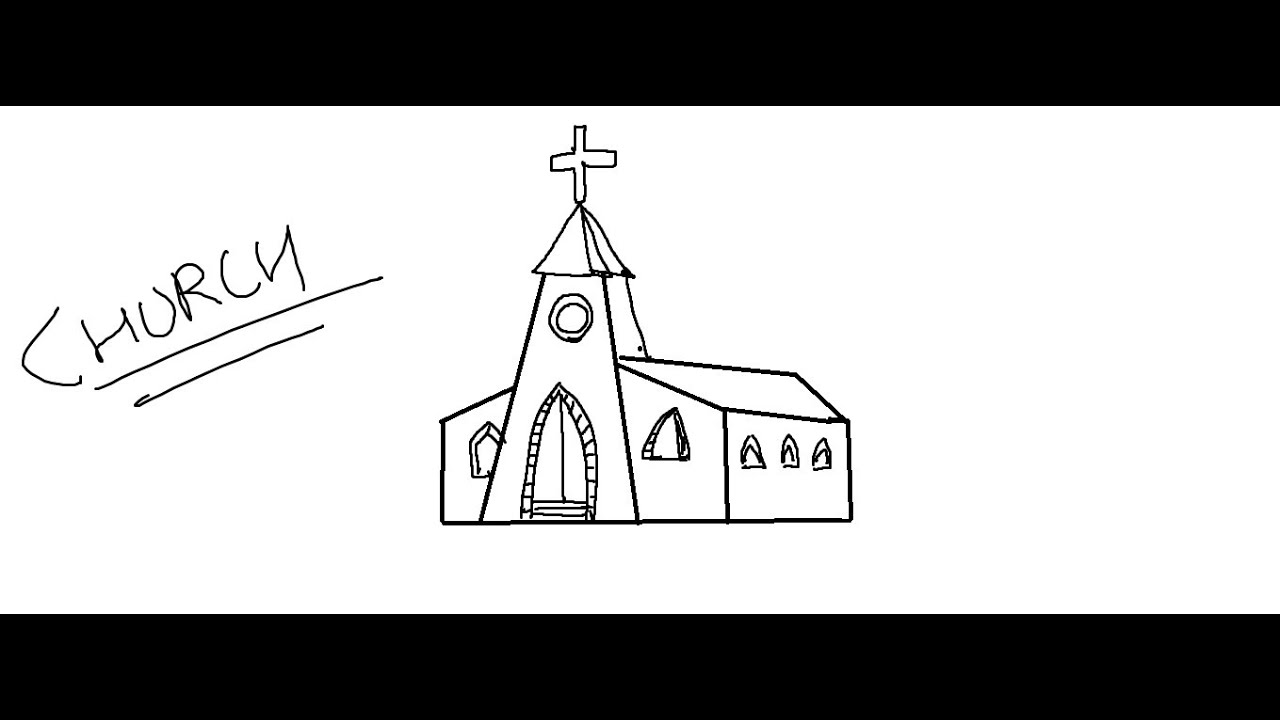 Easy kids drawing lessonshow to draw a cartoon church for kids