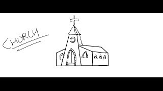 Easy Kids Drawing Lessons:How to draw a  cartoon Church for Kids