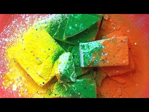 8 blocks of fluffy crunchy ader and colourful pigment • CONGRATULATIONS @FazmeeriasaraASMR!! | ASMR