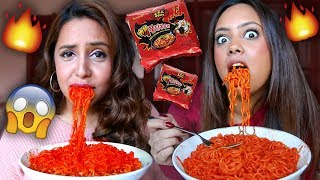 EXTREME SPICY NOODLE CHALLENGE (WITH MY SISTERS)