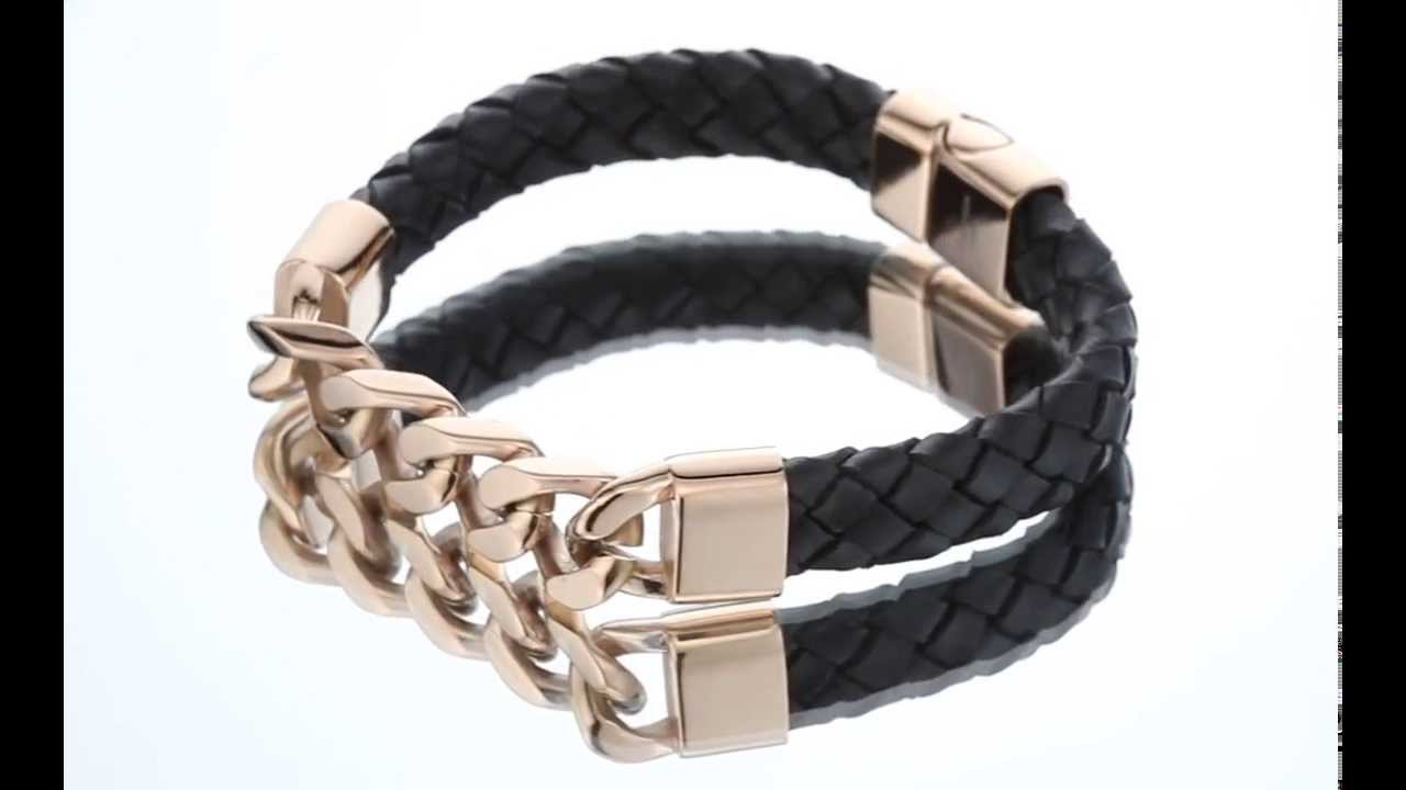Mens Black Woven Leather Rose Gold Plated Steel Bracelet Style Sb4162 By  Peora Jewelry