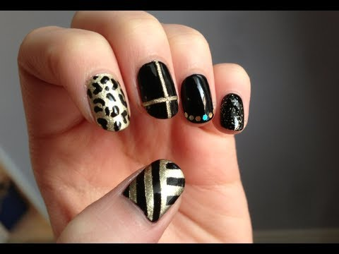mismatch black & gold nail art