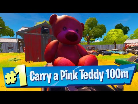 Carry A Giant Pink Teddy Bear Found In Risky Reels 100 Meters Location - Fortnite