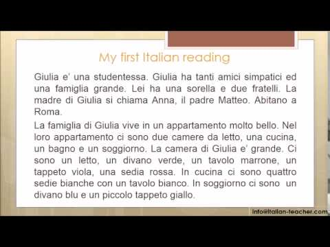 Learn Italian for beginners 13: my first reading