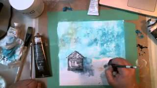 Mixed Media Winter Scene Shadow Box - Recorded Live