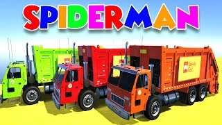 Spider-man Cartoon #26: LEARN COLORS with GARBAGE TRUCK & BUSfor Kids w Cars Superheroes for babies