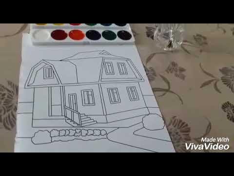 How To House Colouring Boyama Sulu Boya Ile Ev Rengleme Deniz