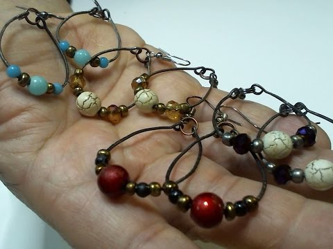 Very easy to make hoop earrings