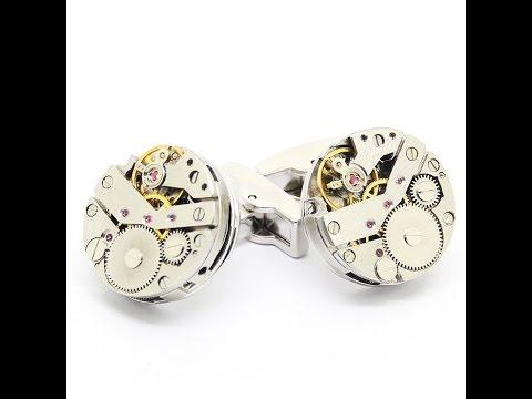 Steampunk Watch Cufflinks, Vintage Clockwork Watch Movement Cuff Links 800980
