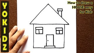 How to draw a HOUSE easy for kids