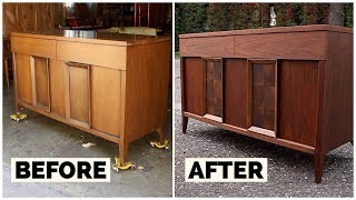 Thrift Store Rescue #11 | Refinishing A Vintage Thrift Store Credenza | Furniture Restoration