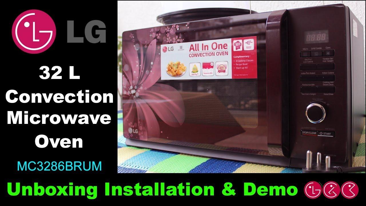 lg 32 l convection microwave oven mc3286brum black unboxing demo