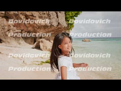 A charming and happy philippine teenage girl in a white summer dress is running along a tropical
