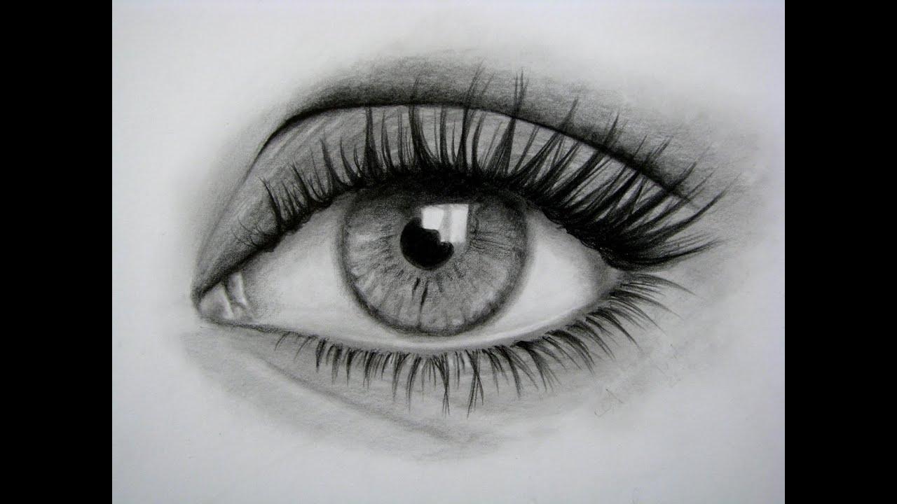 Cómo dibujar un ojo realista y PESTAÑAS!! Paso a Paso - YouTube
