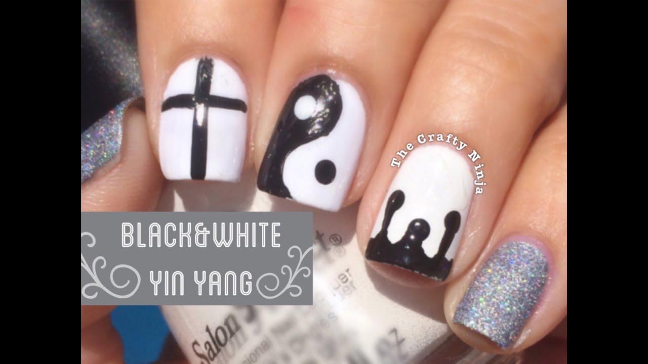 Yin Yang Design On Nails