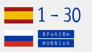 Числа от 1 до 30  - Испанский язык - Русский язык