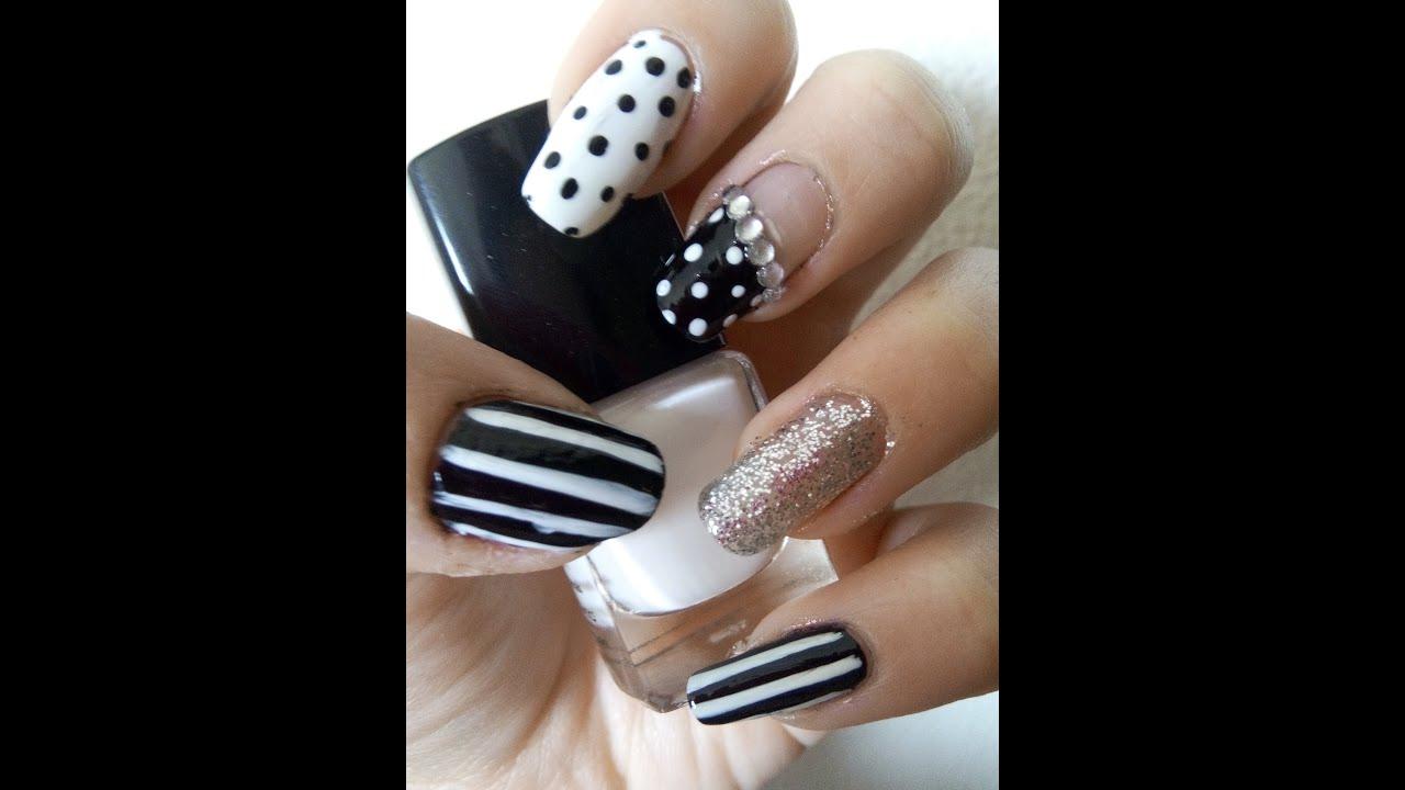 Nail art rose et noir : Nail art noir et blanc