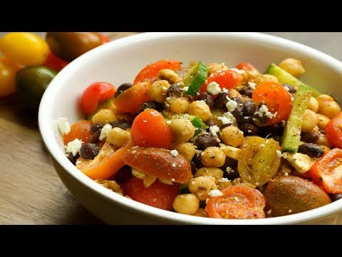 Tomato and Feta Bean Salad - By Naughty Food