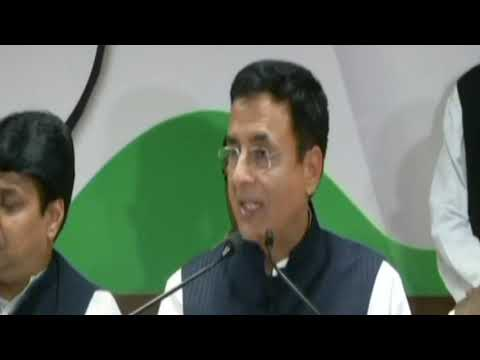 Randeep Singh Surjewala addresses media in Jaipur, Rajasthan