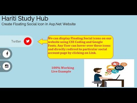 Develop Floating Social Icons with CSS in Asp.Net Website C# | Hindi | Free Online Classes