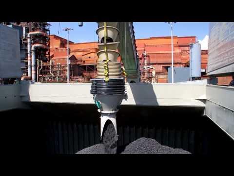 Shiploader & Mobile Truck Unloaders loading Handymax Vessels