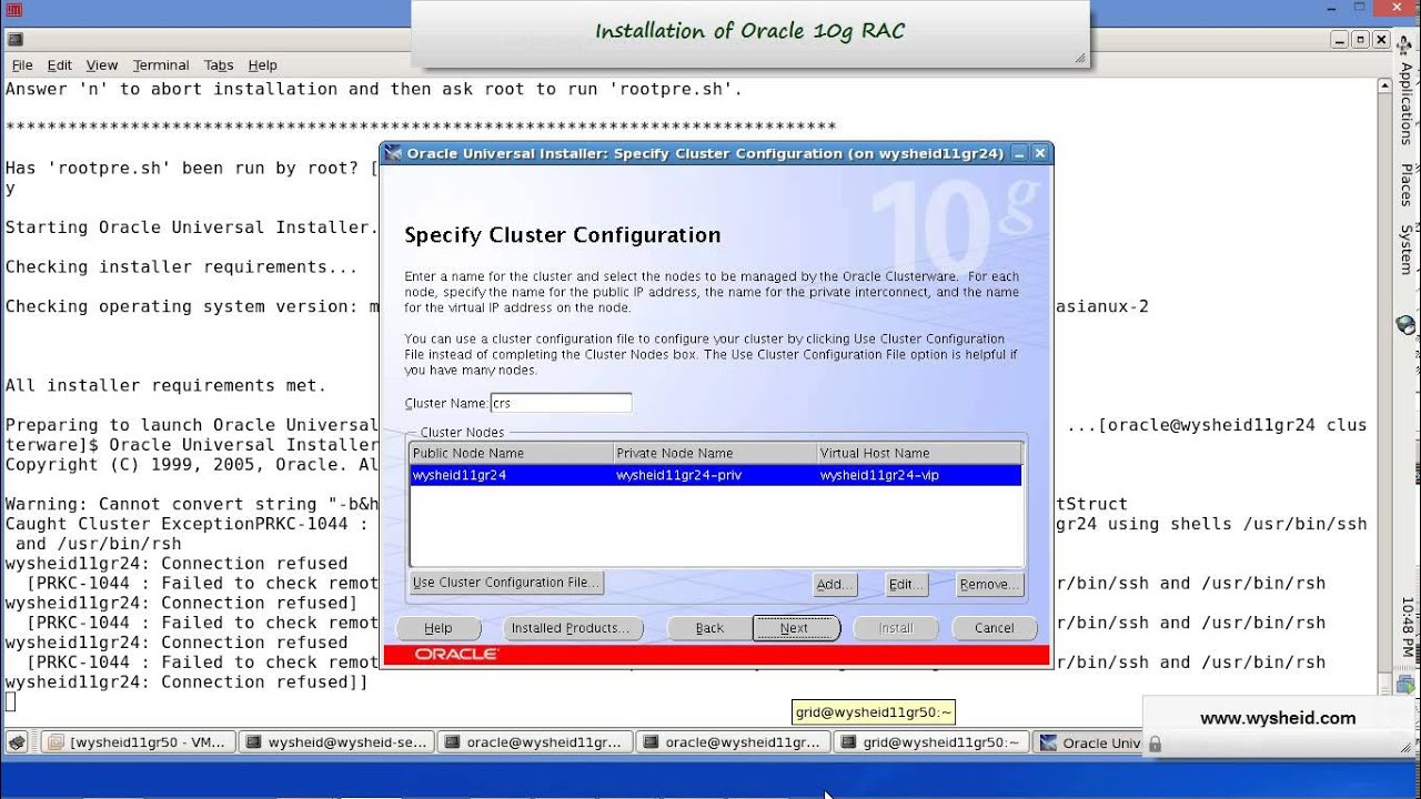 Steps for Installing Oracle 10g Clusterware on Linux