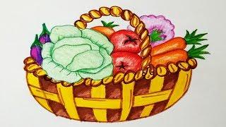 vegetables basket vegetable drawing draw easy step drawings getdrawings paintingvalley