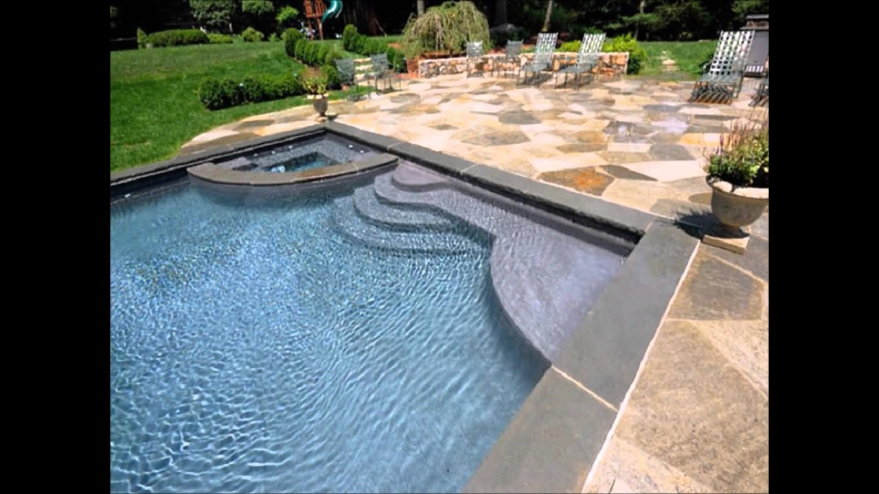 Stone Pavers around a swimming pool. Part 1 - YouTube
