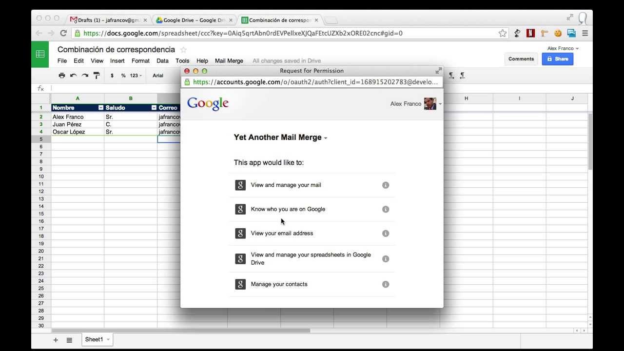 Combinación de Correspondencia con Google Drive (Hojas de cálculo ...