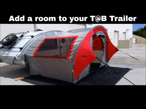 T@B Side Tent This ingenious tent adds space to your Tab Trailer:  Setup video