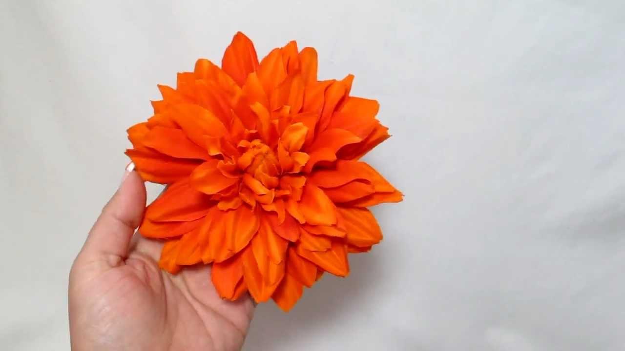 Large Bright Orange Dahlia Flower Hair Clip Item 7457 Youtube