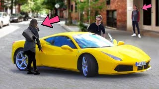 FERRARI GOLD DIGGER PRANK - Rich Kid - 2 GUYS 1 GIRL 2018