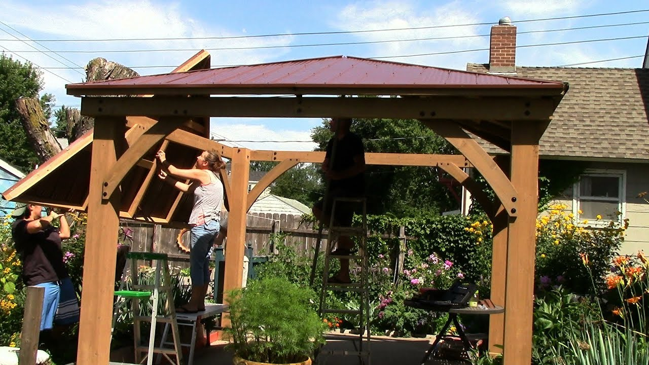 costco yardistry 12x12 cedar gazebo (rafters/panels/raising the roof) |  part2 2017-07 - Costco Yardistry 12x12 Cedar Gazebo (rafters/panels/raising The Roof