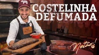 Costelinha Defumada e Molho Barbecue Caseiro no PitSmoker - Smoked Pork Ribs   Netão! Bom Beef #65