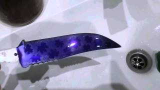 Травление узора на клинке в хлорном железе с помощью фоторезиста