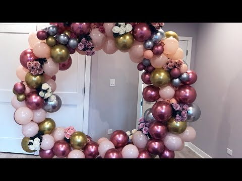 Unboxing & Decorating Round Metal Arch  Diy- Floral Balloon Arch Decor Diy- balloon garland