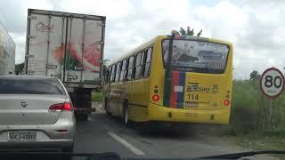 Ônibus da Vera Cruz não obedece as leis de trânsito e carregam passageiros como bois.