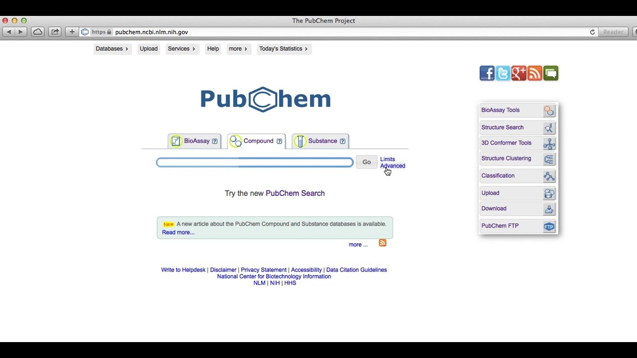 PubChem Advanced Search Tutorial An Introduction