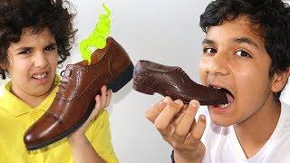 Sami & adel Play with Chocolate Shoe Vs Real Shoe - أحذية شوكلاتة