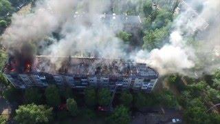 Пожар в Киеве, ул. Строителей, 13 14.06.2015